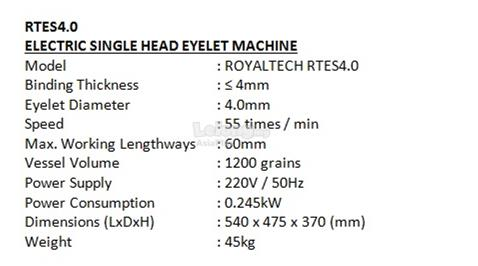 ROYALTECH Electric Single Head Eyelet Machine - RTES4.0