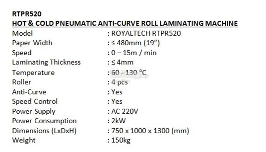 ROYALTECH Hot & Cold Pneumatic Roll Laminating Machine - RTPR520