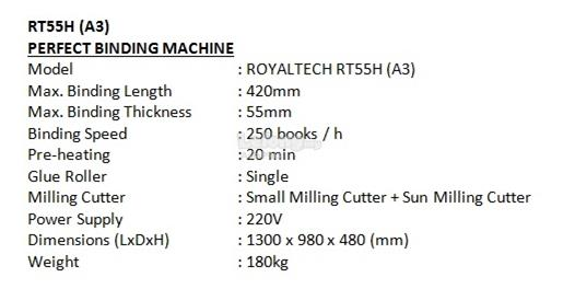ROYALTECH Perfect Binding Machine - RT55H(A3)