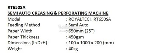 ROYALTECH Semi Auto Creasing & Perforating Machine - RT650SA