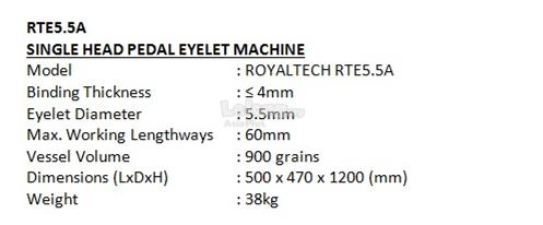 ROYALTECH Single Head Pedal Eyelet Machine - RTE5.5A