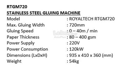 ROYALTECH Stainless Steel Gluing Machine - RTGM720
