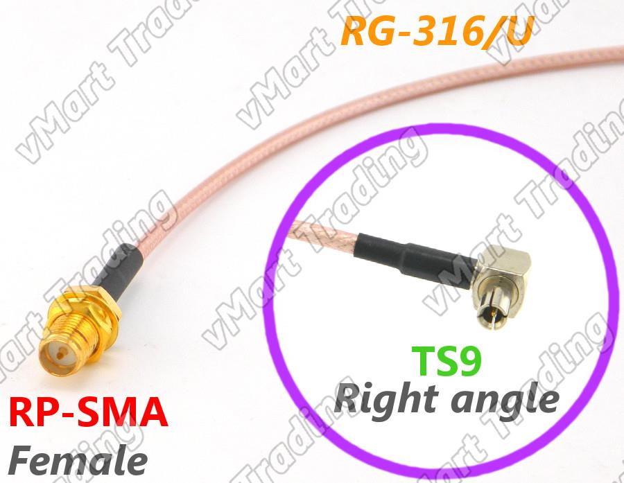 RP-SMA Female to Right Angle TS9 with RG-316/U Coaxial Cable