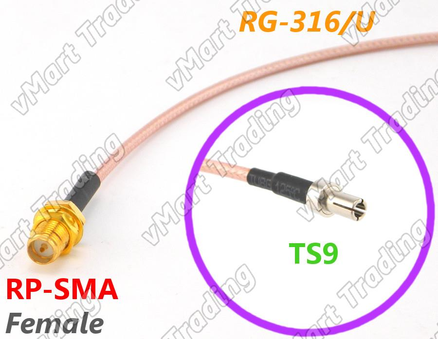 RP-SMA Female to TS9 with RG-316/U Coaxial Cable
