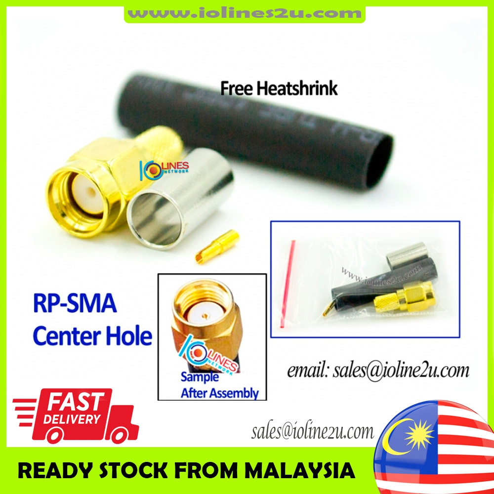 RP-SMA male/female connector for RG58 LMR-195 50-3 3D-FB CFD-195 50ohm Antenna