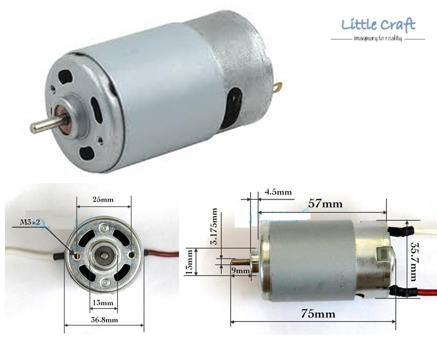 RS-550 DC Motor 12V 1.2A 15000RPM (end 12/18/2018 11:15 AM)