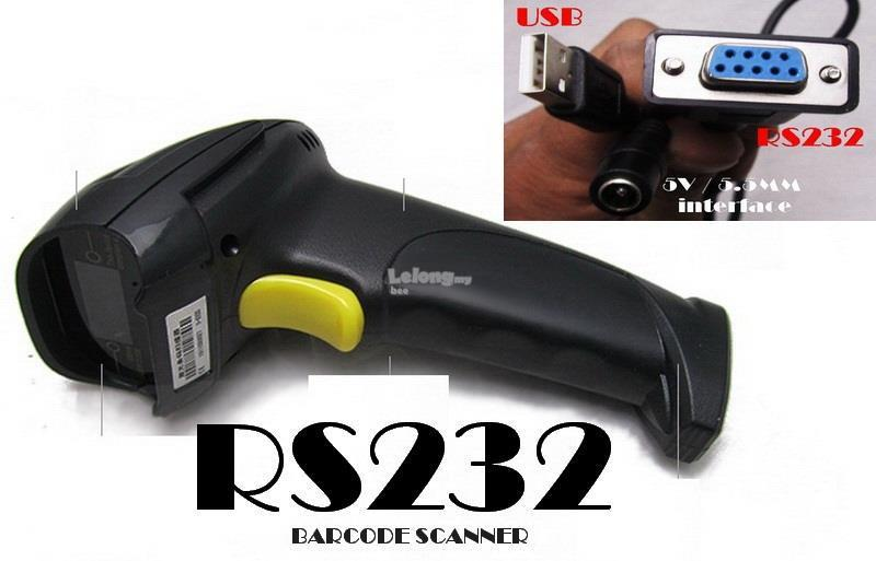 RS232 Laser Barcode Scanner Gun Wired Handheld Scanner