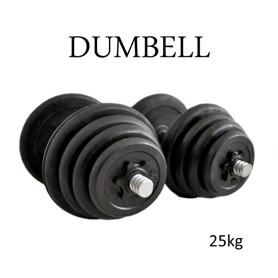 Rubber Black Dumbbell Fitness GYM Dumbell Exercise 25kg