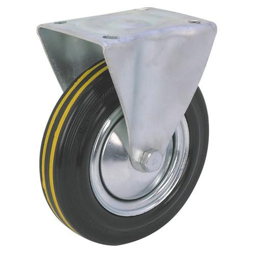 Rubber Industrial Fixed Caster / Wheel - 100mm