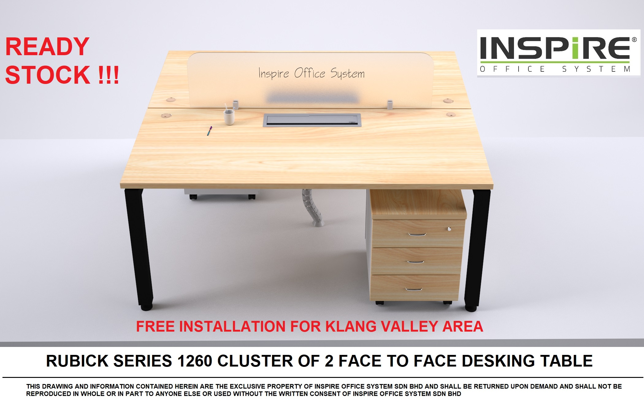 Rubick 1260 Cluster Of 2 Desking System Office Table | Workstation