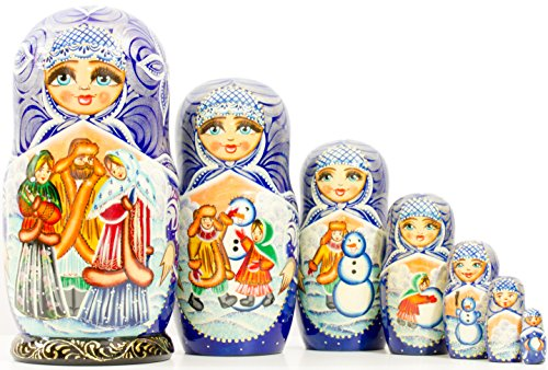 Russian Nesting Doll - Siberian Winter - Hand Painted in Russia ^^ Big Size -