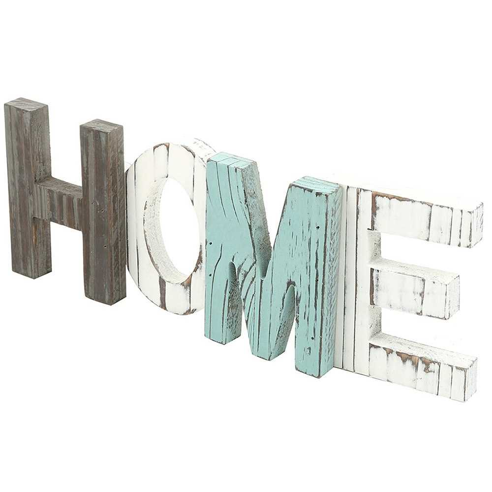 Rustic Multi-color Wood HOME Letter Decorative Sign Standing Cutout Wo