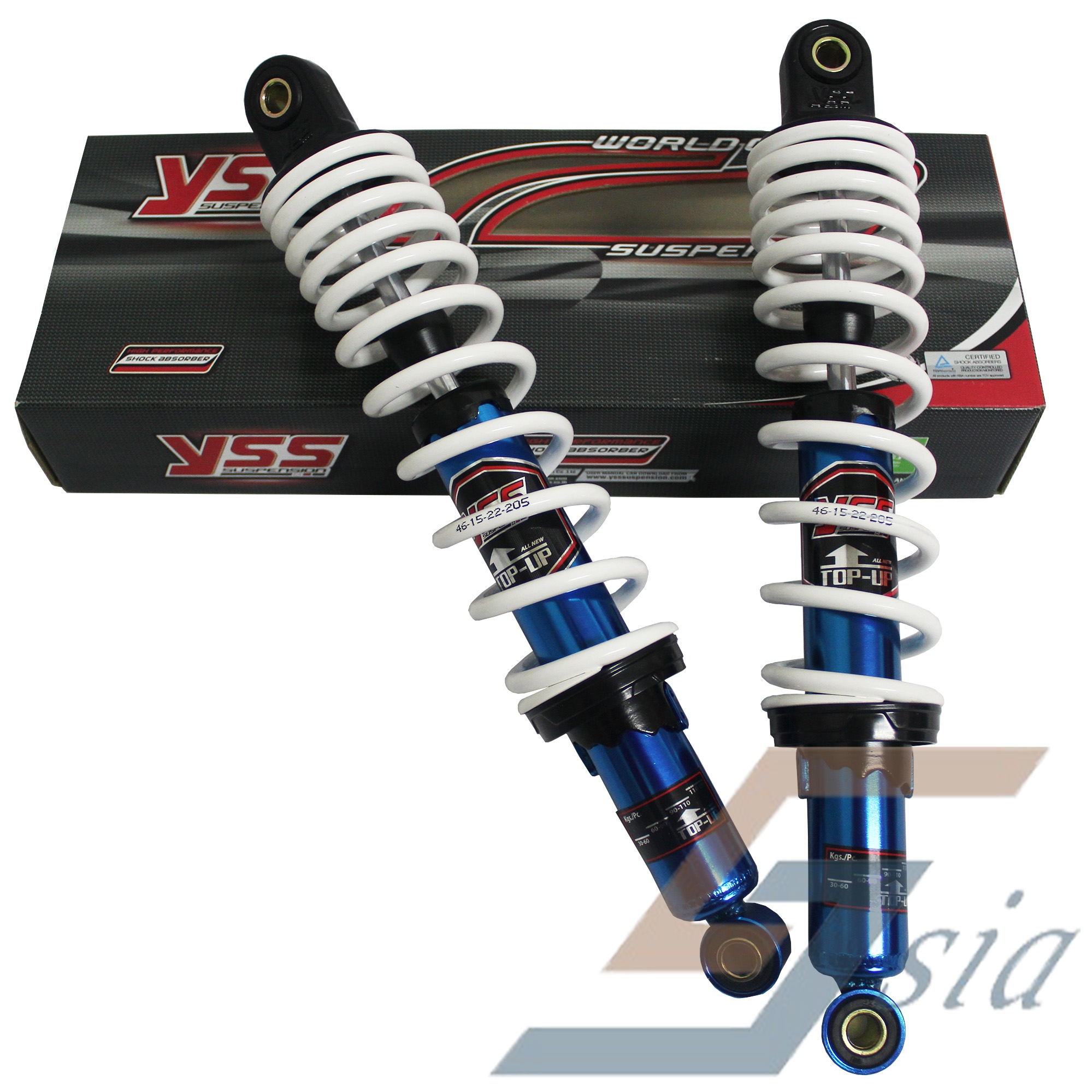 RXZ/DASH/WAVE/FUTURE YSS 340mm Top-Up Rear Suspension (Blue/White)
