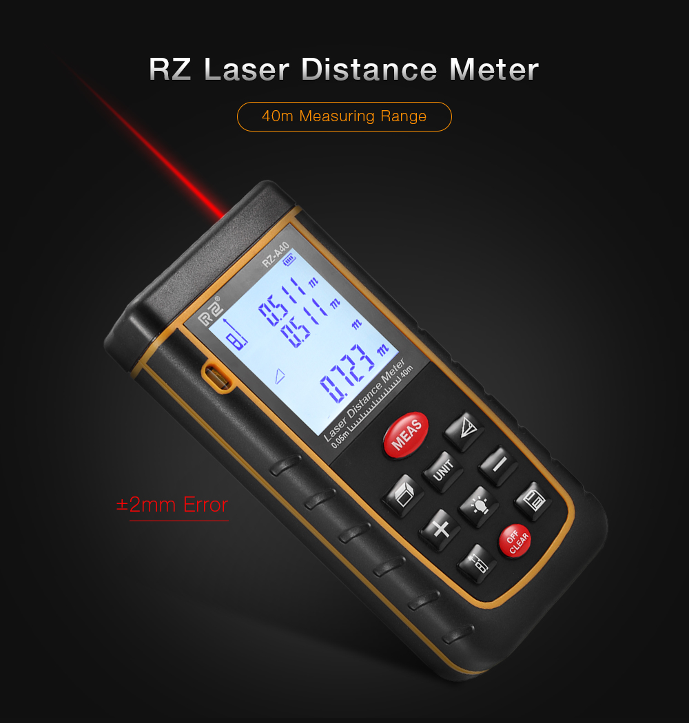 RZ A40 Laser Distance Meter 0.05 to 40m with Bubble Level