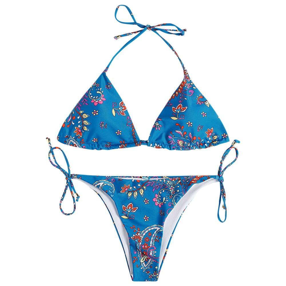 f61a24e3e6 S MULTI Printing Lace Up Bikini Set Sexy Women Padded Swimwear Bandage.