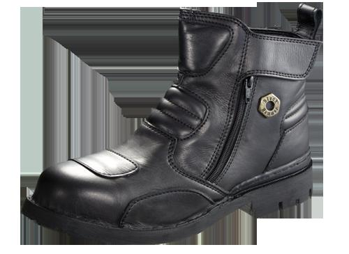 Safety Shoes Black Hammer Men Medium Cut Zip Up Black BH4883