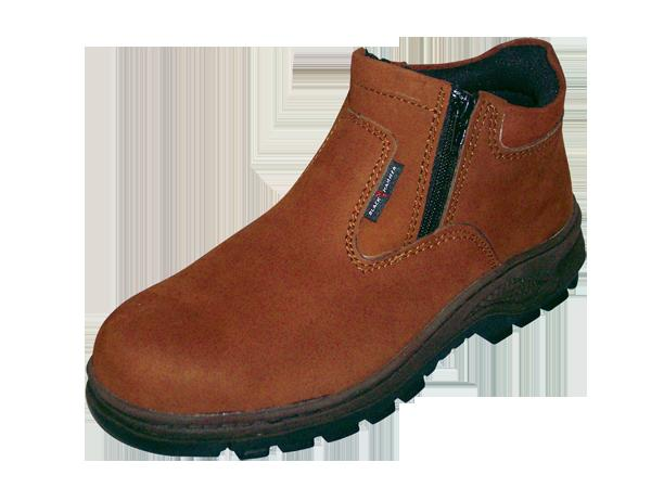 Safety Shoes Black Hammer Men Medium Cut Zip Up Brown BH2882A