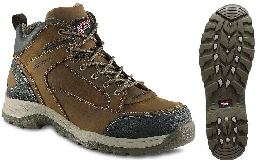 Safety Shoes Red Wing Men Medium Cut Lace Up Brown EH AT 6692
