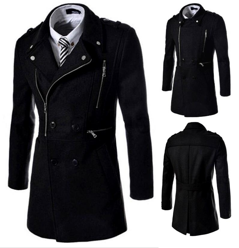 SALE!!! D.HOMME KOREAN MENS BREASTED MULTI-ZIPPING TRENCH COAT