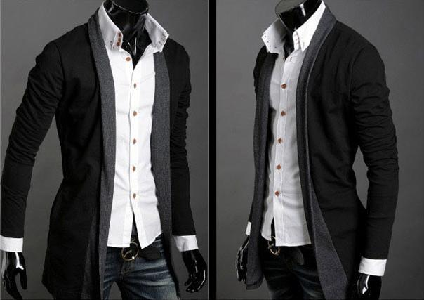 SALE!!! D.HOMME KOREAN STYLISH CONTRAST PLACKET LONG CARDIGAN
