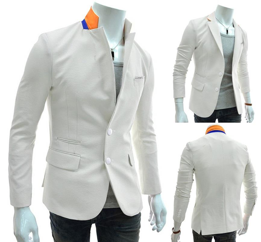 SALE~D.HOMME KOREAN STYLISH CONTRAST-TRIM COLLAR WHITE BLAZER/COAT