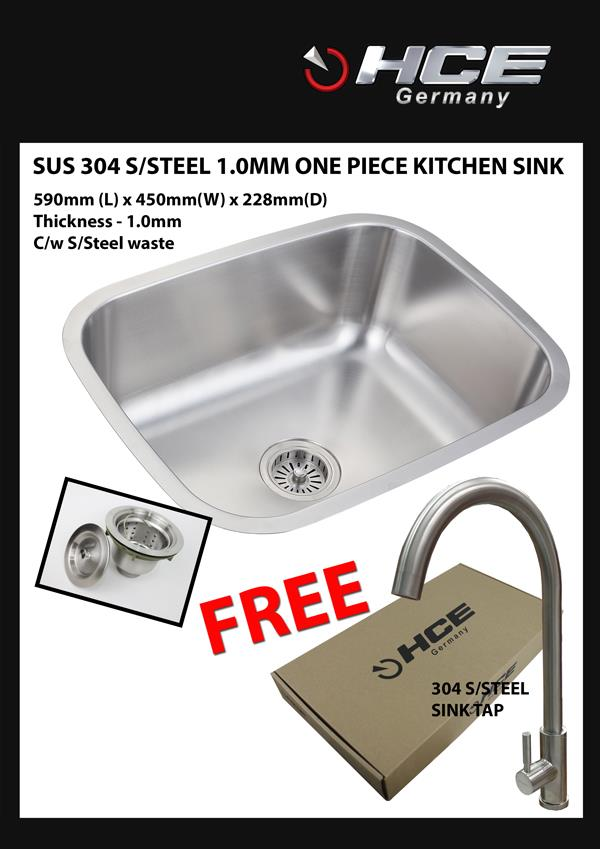 [SALE PACKAGE 1]-HCE-304 S/Steel Kitchen Sink-Free Sink Tap