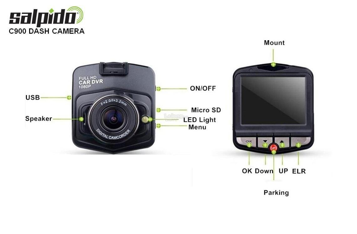 Salpido C900 Car Dash Cam Full HD & Night Version Car DVR-Blue