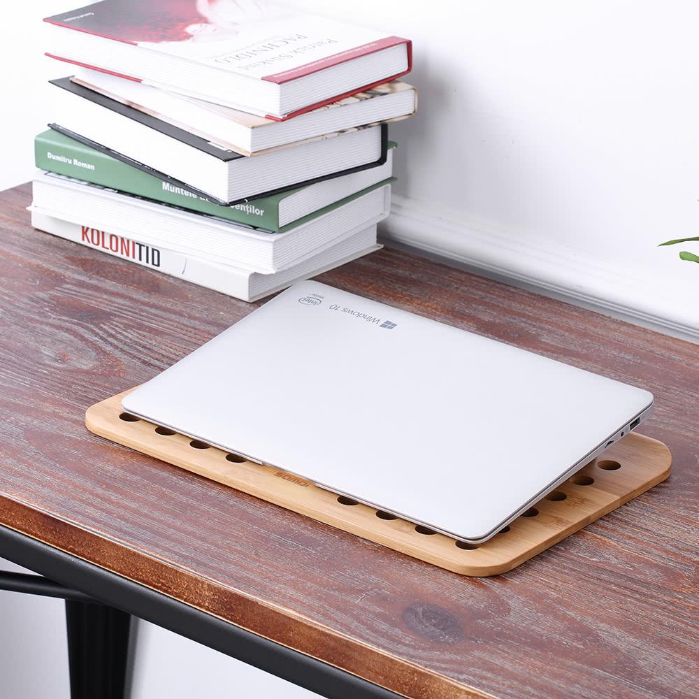 Samdi Bamboo Laptop Tray Lap Desk Universal Cooling Stand Desktop Read