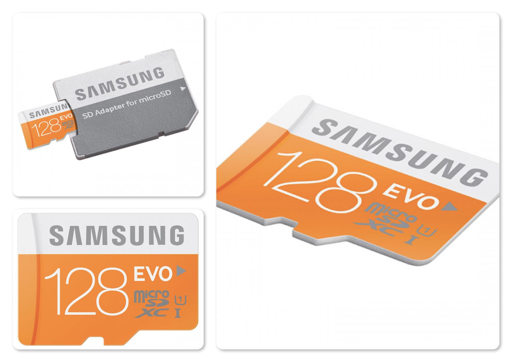 Samsung 128GB Micro SDXC Class 10 EVO Memory Card with Adaptor