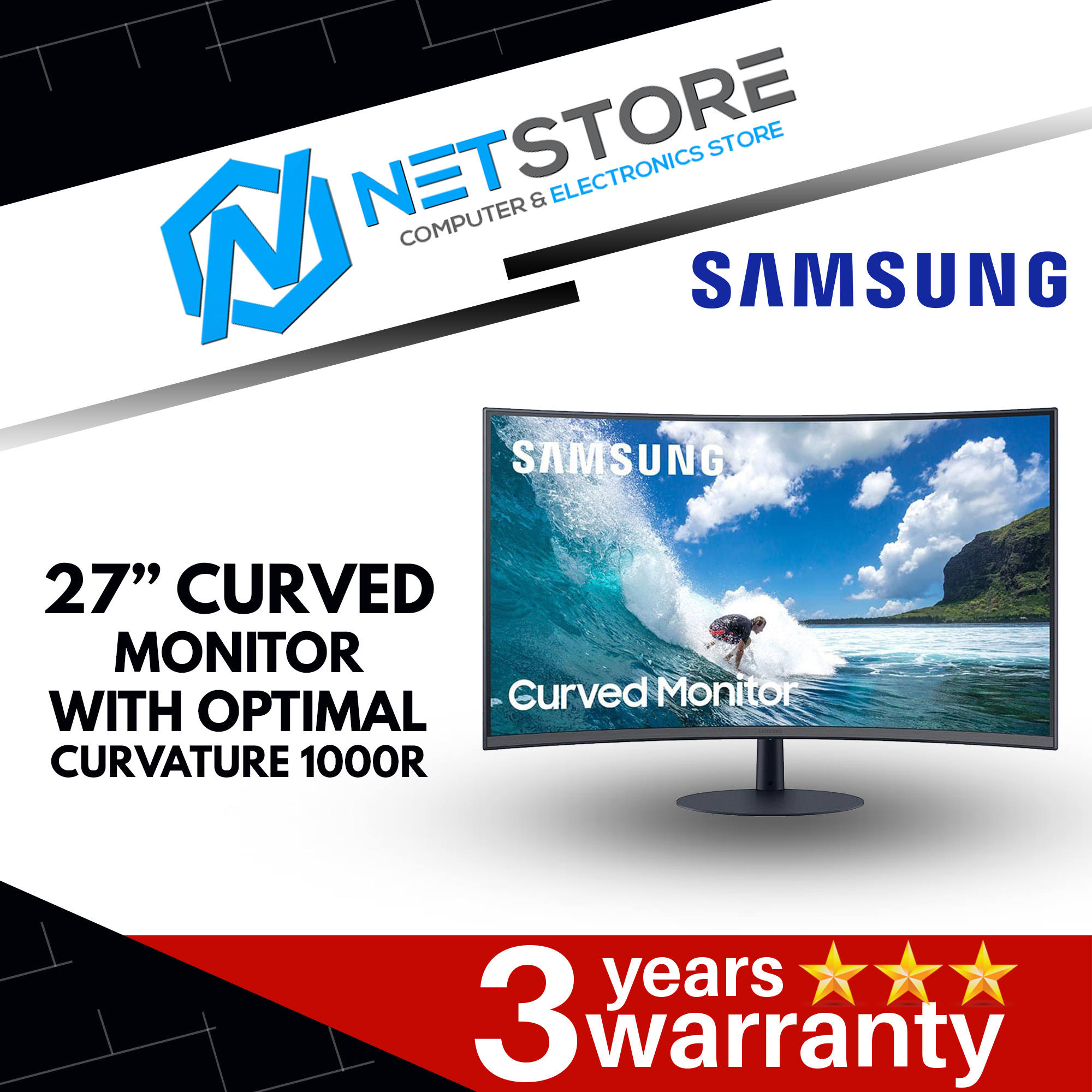 "SAMSUNG 27"" CURVED MONITOR WITH OPTIMAL CURVATURE 1000R LC27T550FDCXXK"