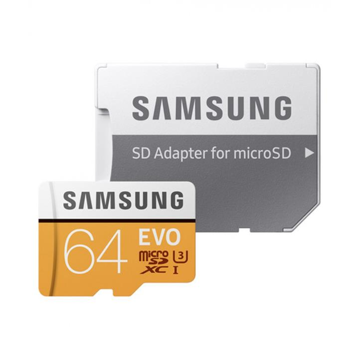 Samsung 64GB EVO UHS-I microSDXC Class 10 Memory Card with SD Adapter