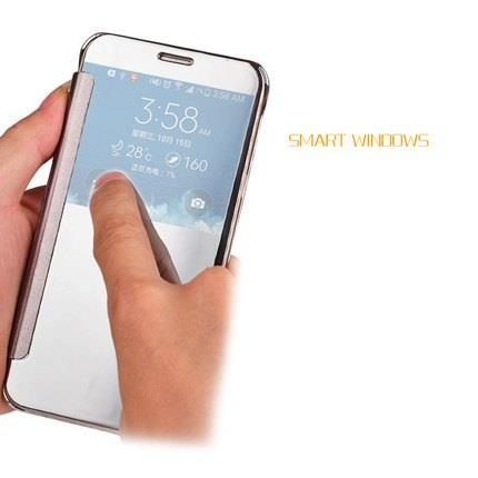 Samsung A5 A7 2017 Mirror Smart SView Case Casing Cover +Tempered Glas