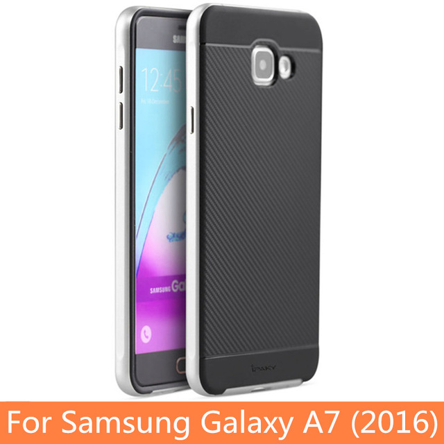 new style 58114 89370 Samsung A7 2016 A710F A7100 PC Frame+Silicone Back Cover Casing-Silver