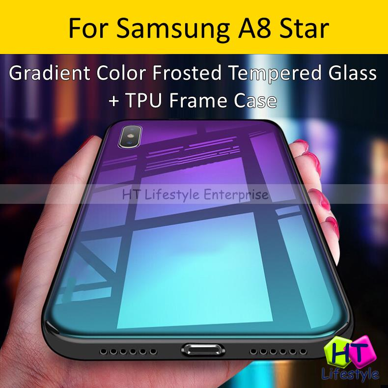 Samsung A8 Star Frosted Tempered Glass Back + TPU Frame Case