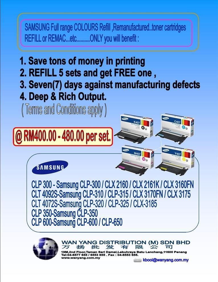 SAMSUNG Full range COLOUR  toner cartridges Refill