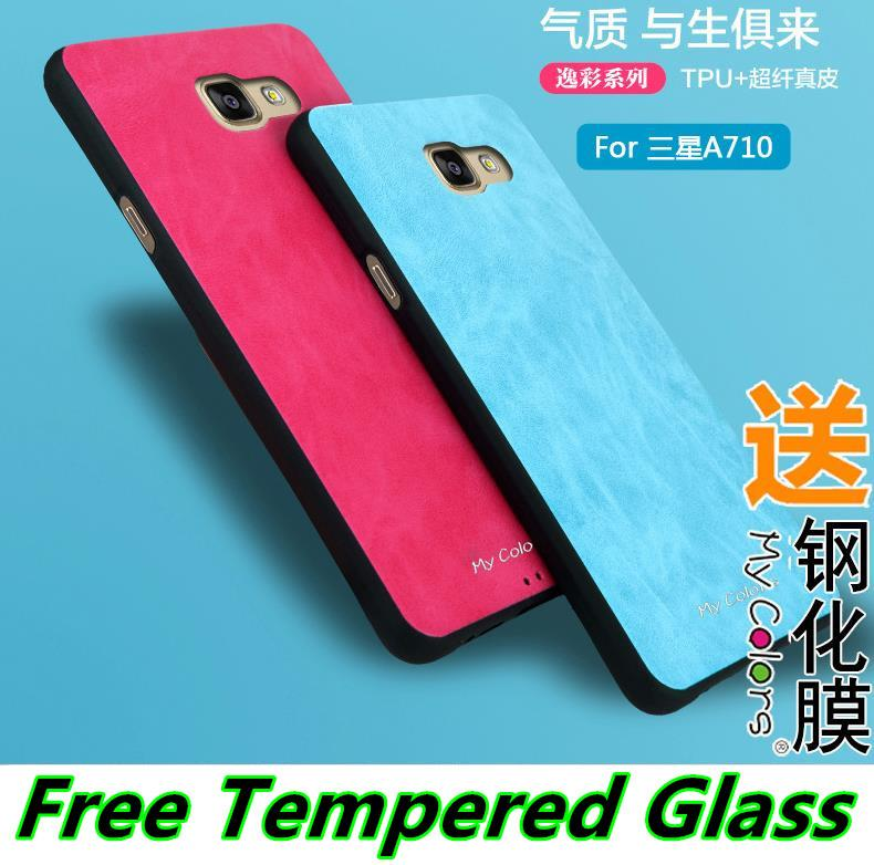 Samsung Galaxy A5 A7 2016 Leather TPU Case Cover Casing Tempered Glass