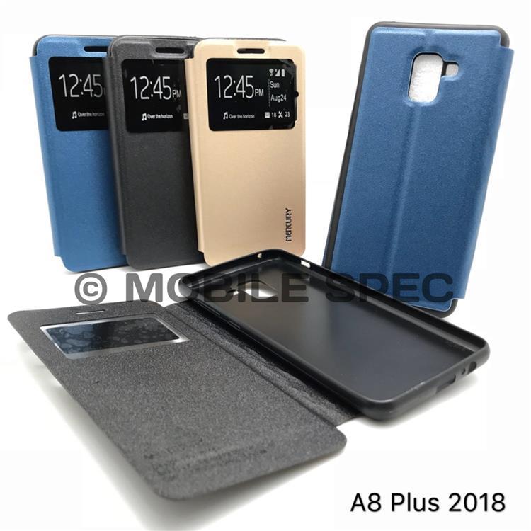 new style 5c3b3 e8a3e SAMSUNG GALAXY A6 A8 PLUS 2018 FLIP POUCH BAG S VIEW MERCURY CASE