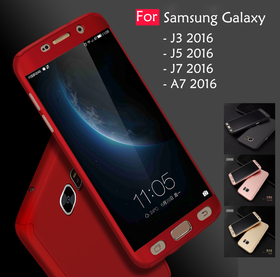 big sale a2dc5 2dd48 Samsung Galaxy A7 J3 J5 J7 2016 360 Full Protect Cover Case With Tempe
