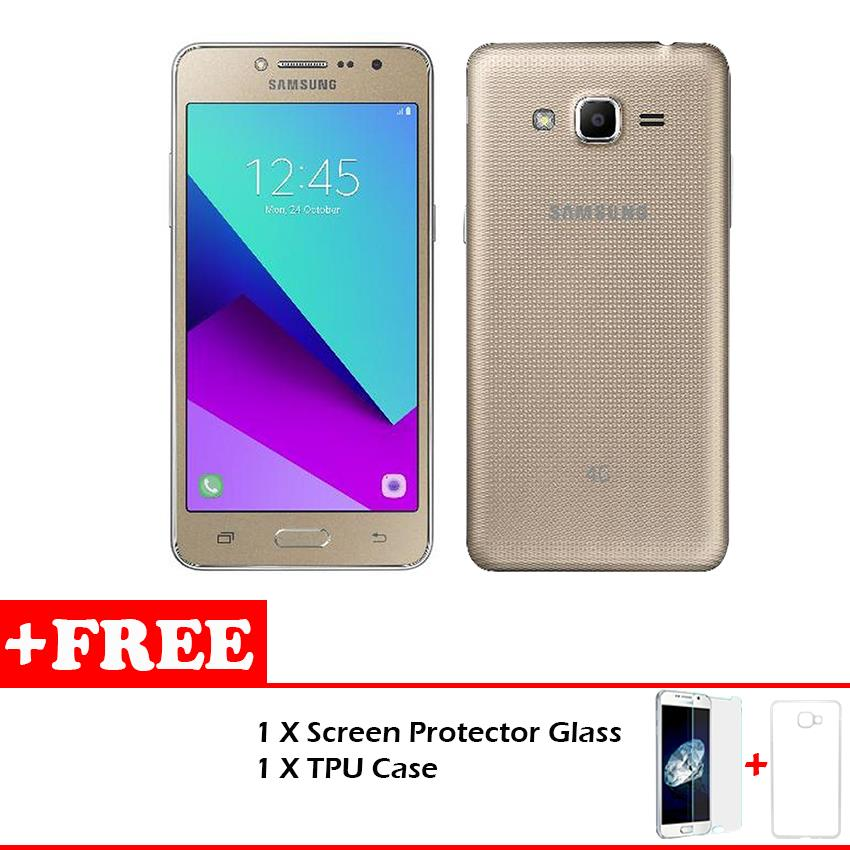 SamsungR Galaxy J2 Prime Gold Free Glass TPu Case