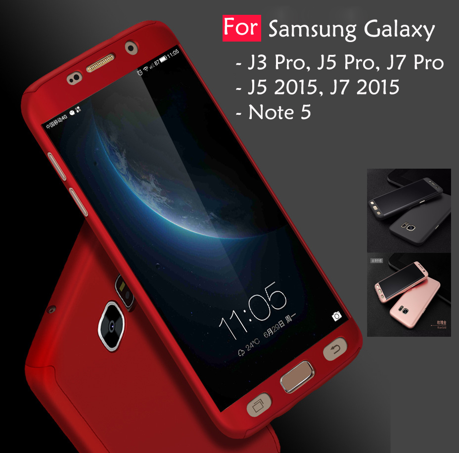 watch 150ac 73c02 Samsung Galaxy J3 J5 J7 Pro 2015 Note 5 360 Full Protect Cover Case Te
