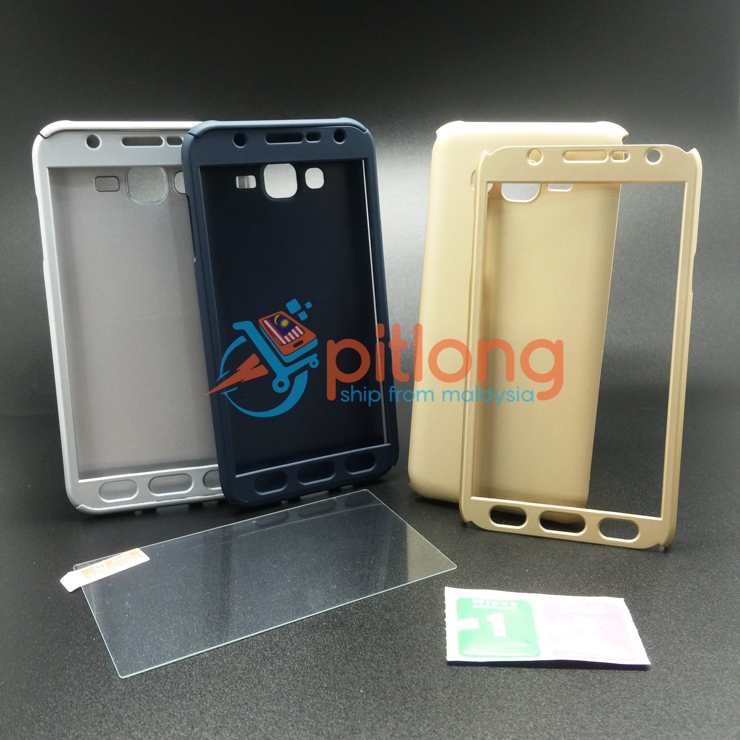 pretty nice 629a1 a5d50 SAMSUNG GALAXY J5 2015 J500 360 FULL COVER CASE ^^ FREE TEMPERED GLASS