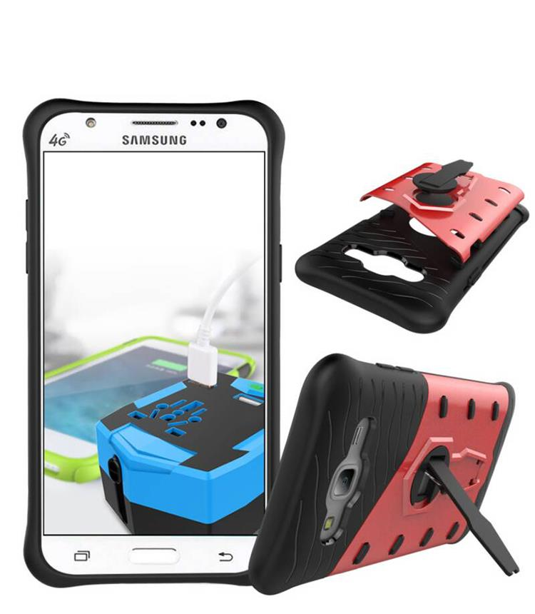 Samsung Galaxy J5 Back Stand Armor Case Cover Casing + Tempered Glass