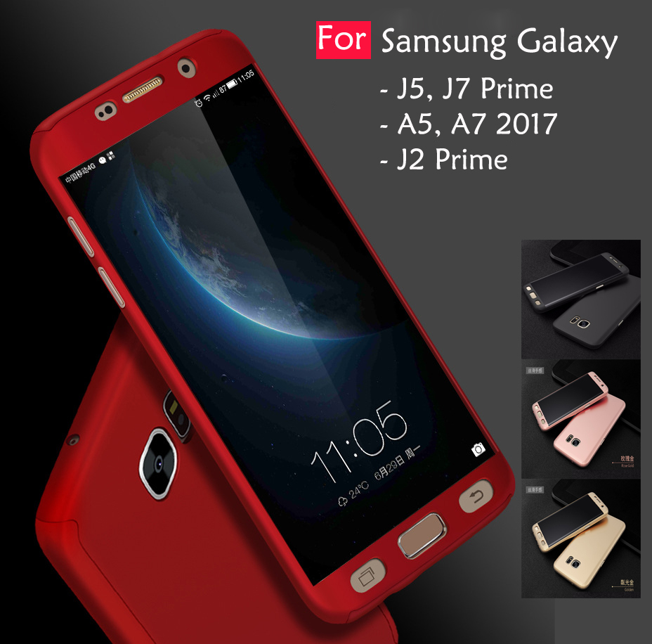 check out 72bbb 108d3 Samsung Galaxy J7 J5 J2 Prime A7 A5 2017 360 Full Cover Case Tempered