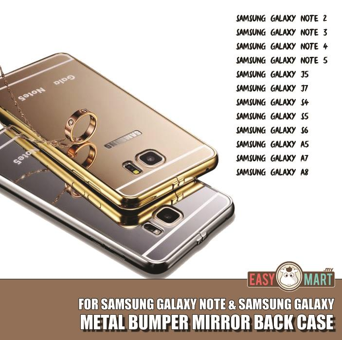 Samsung Galaxy Note 4 5 S4 S5 S6 A7 A8 J5 J7 Mirror Metal Bumper Case. ‹ ›