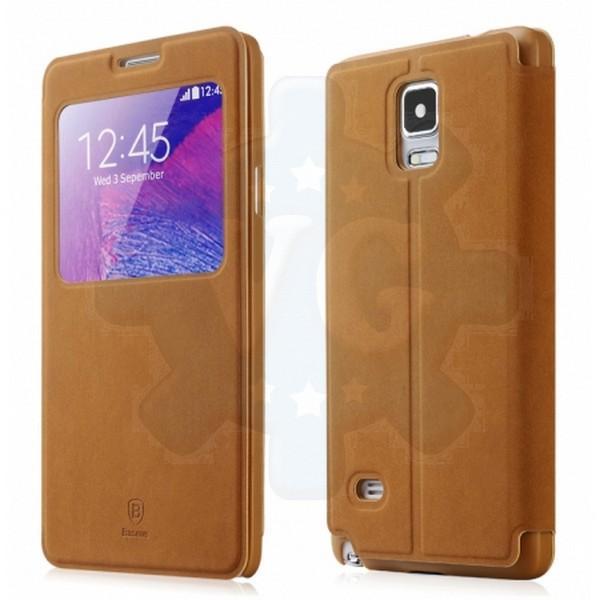 lowest price b5760 70ee2 Samsung Galaxy Note 4 Baseus Terse Window Flip Case Cover [Brown]