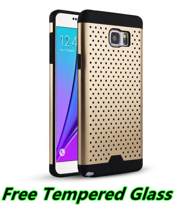 Samsung Galaxy Note 5 Metal + TPU Case Cover Casing + Tempered Glass