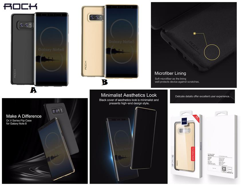 huge discount f5855 658a2 Samsung Galaxy Note 8 ROCK DR.V SMART Transparent Flip Case Cove