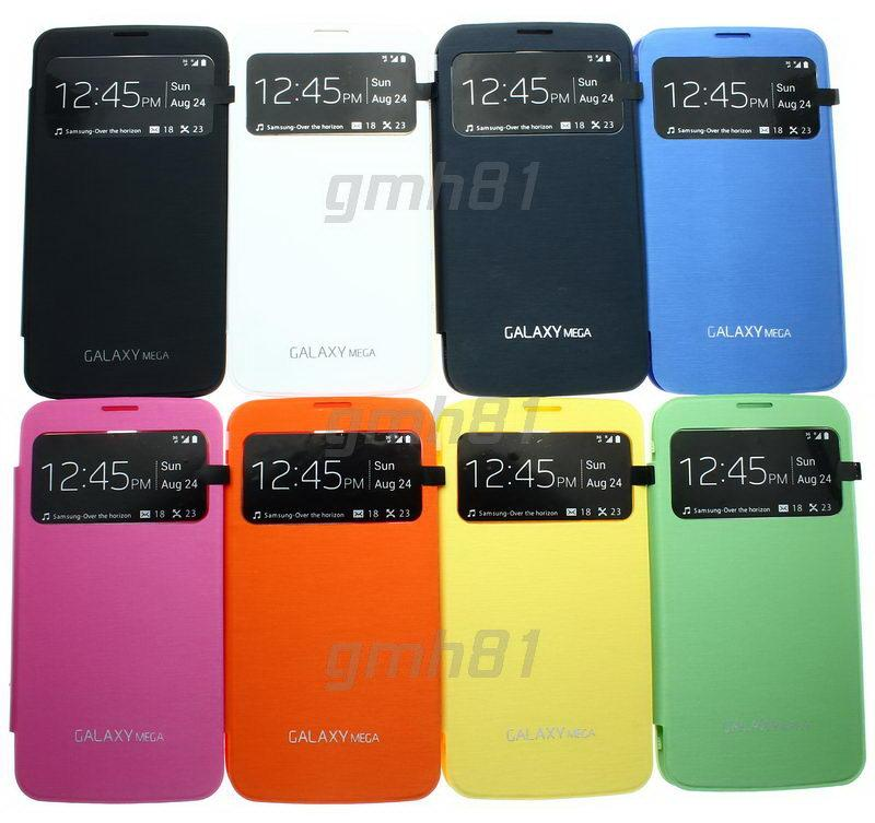 more photos cffc7 91baa Samsung Galaxy S4 mini Mega 5.8 Note 2 3 S-View Flip Cover Case AA