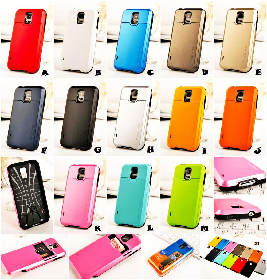 premium selection 4ba63 ec94b Samsung Galaxy S4 S5 SPIGEN SGP CARD SLIDER Slim Armor Case Cover *FRE