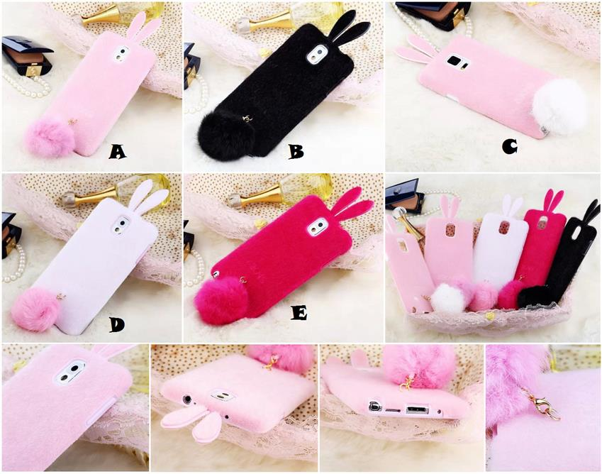 online retailer 9979d 95cae Samsung Galaxy S5 Note 3 4 Rabbit Standing Ball Furry Case Cover *FRE